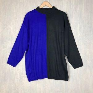 Vintage color block high neck oversized sweater L